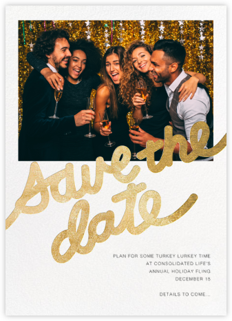Love Letter (Photo Save the Date) - Gold - Paper + Cup - Holiday Save the Dates