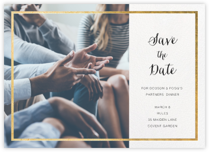 Idylle (Photo Save the Date) - White/Gold - Paperless Post - Business Party Invitations