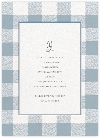 Buffalo Check Bunny - Blue - Sugar Paper - Baby Shower Invitations