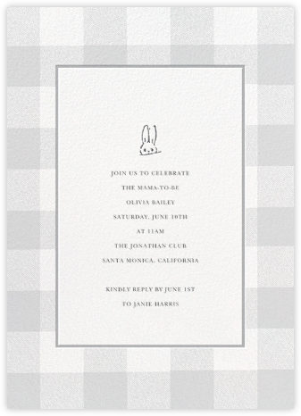 Buffalo Check Bunny - Gray - Sugar Paper - Baby Shower Invitations