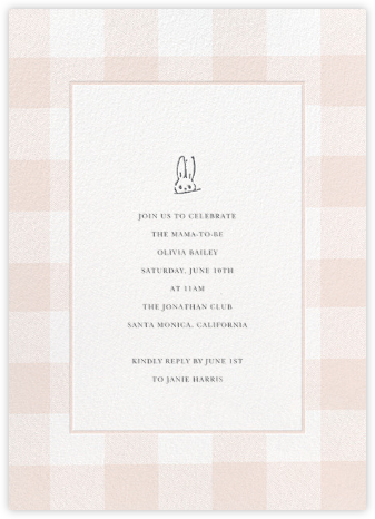 Buffalo Check Bunny - Pink - Sugar Paper - Invitations