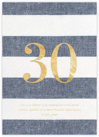 Chambray Stripe - Thirty - Sugar Paper - Adult Birthday Invitations