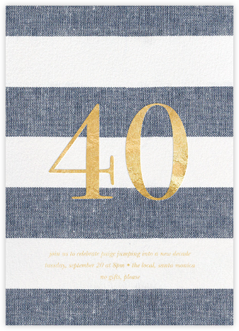 Chambray Stripe - Forty - Sugar Paper - Milestone birthday invitations