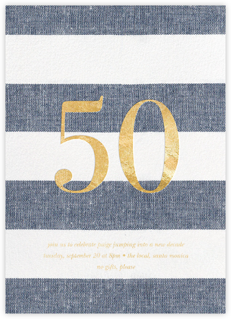Chambray Stripe - Fifty - Sugar Paper - Milestone Birthday Invitations