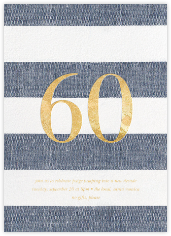 Chambray Stripe - Sixty - Sugar Paper - Adult Birthday Invitations