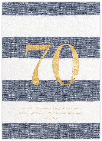 Chambray Stripe - Seventy - Sugar Paper - Adult Birthday Invitations