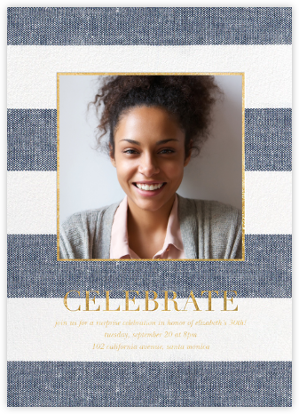 Chambray Stripe Photo - Sugar Paper - Adult Birthday Invitations