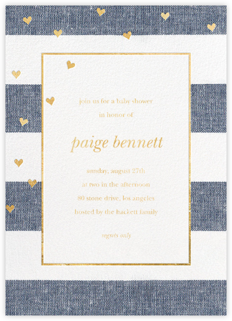 Chambray Stripe with Hearts - Sugar Paper - Baby Shower Invitations