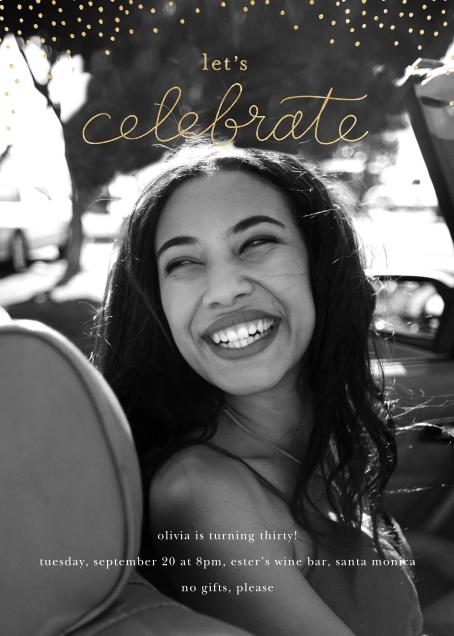 Cursive and Confetti - Sugar Paper - Adult birthday invitations