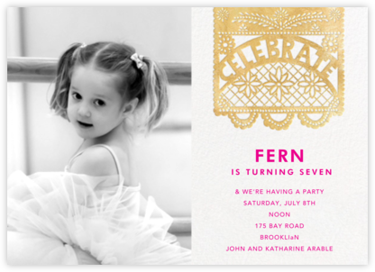 Papel Picado (Photo) - Gold - Paperless Post - First Birthday Invitations