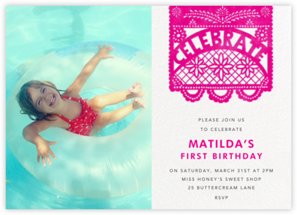 Papel Picado (Photo) - Bright Pink - Paperless Post - First Birthday Invitations