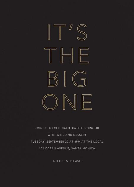 One Big Birthday - Black - Sugar Paper - Adult birthday invitations