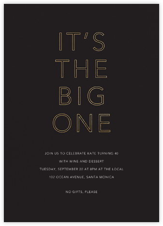 One Big Birthday - Black - Sugar Paper - Milestone Birthday Invitations