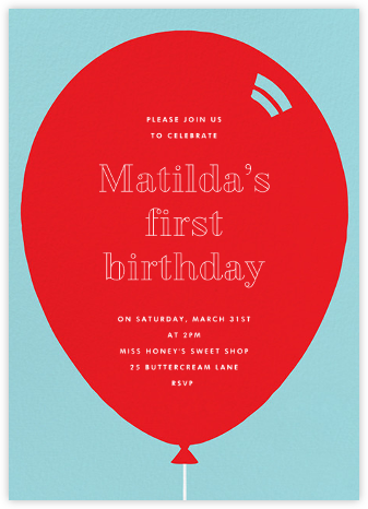 Birthday Balloon - Red - Paperless Post - First Birthday Invitations