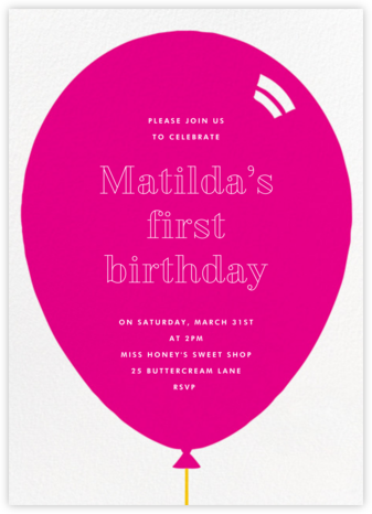 Birthday Balloon - Bright Pink - Paperless Post - First Birthday Invitations