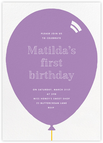 Birthday Balloon - Lilac - Paperless Post - First Birthday Invitations