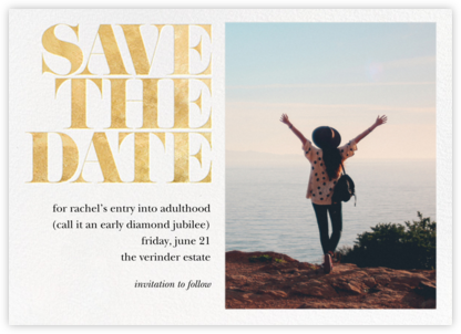 Vintage Book Save the Date (Photo) - Gold - kate spade new york - Online Party Invitations