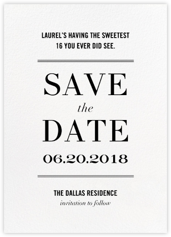 Typographic II (Save the Date) - White - kate spade new york - Kate Spade invitations, save the dates, and cards