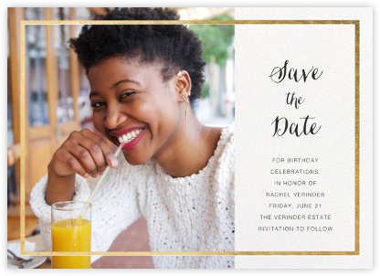 Idylle (Photo Save the Date) - White/Gold | horizontal