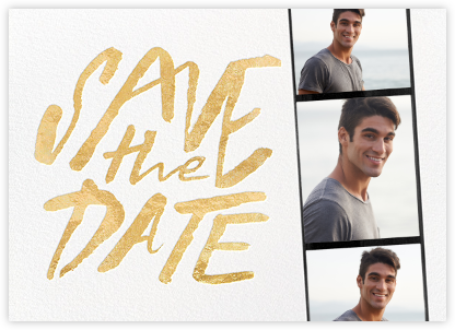Photo Booth Save the Date - Gold - kate spade new york - Before the invitation cards
