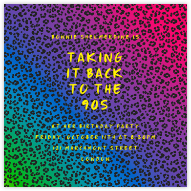 Neon Cheetah - Paperless Post - Birthday invitations