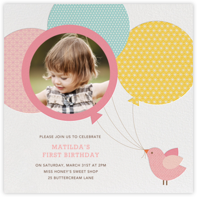 Bird Balloon - Pink  - Petit Collage - First Birthday Invitations