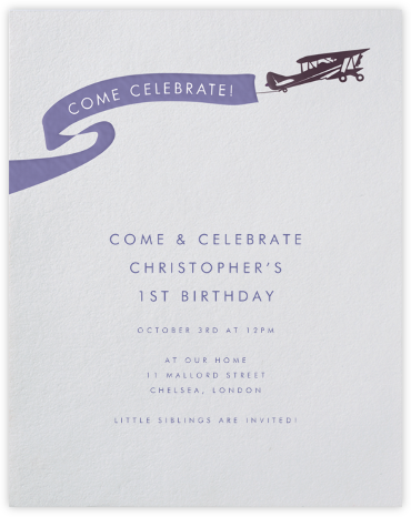 Biplane - Paperless Post - First Birthday Invitations