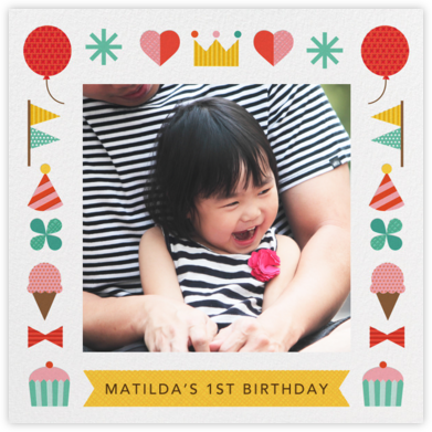 Birthday Treats - Petit Collage - First Birthday Invitations