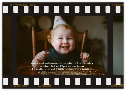 Film Still (Horizontal) - Paperless Post - First Birthday Invitations