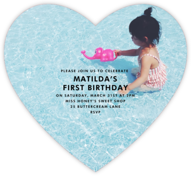 Full Bleed Heart (Single-Sided) - Paperless Post - First Birthday Invitations