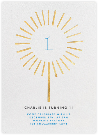 Year of the Sparkler - Gold/White - Paperless Post - First Birthday Invitations