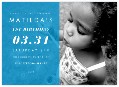 Horizontal Split - Cyan - Paperless Post - First Birthday Invitations