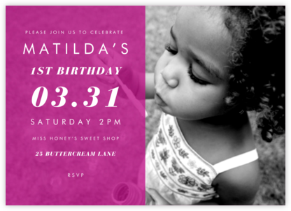 Horizontal Split - Magenta - Paperless Post - First Birthday Invitations
