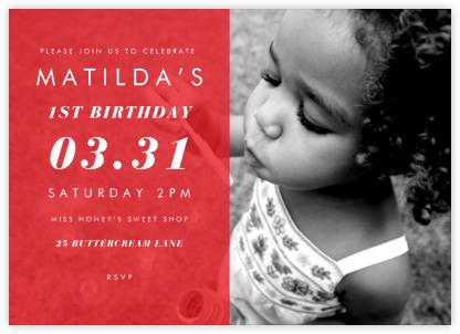 Horizontal Split - Red - Paperless Post - First Birthday Invitations