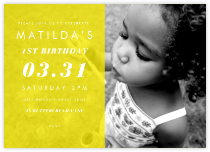 Horizontal Split - Yellow - Paperless Post - First Birthday Invitations
