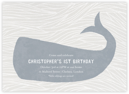 Vintage Whale - Paperless Post - First Birthday Invitations