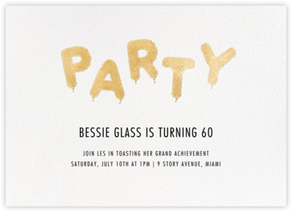 Mylar Party - Gold - Paperless Post - Milestone Birthday Invitations