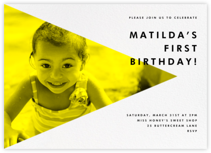 Side Photo Triangle - Paperless Post - First Birthday Invitations