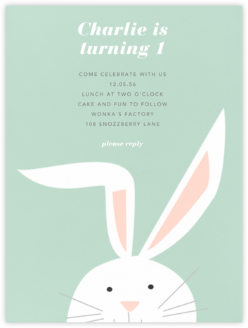 Bunny - Mint - Paperless Post - Invitations