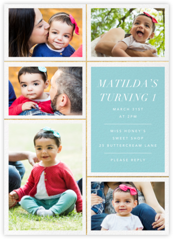 Quint - Caribbean/Gold - Paperless Post - First Birthday Invitations
