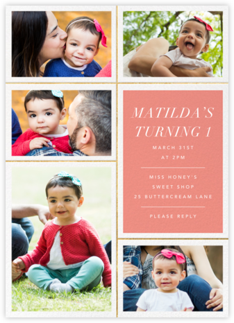 Quint - Papaya/Gold - Paperless Post - First Birthday Invitations