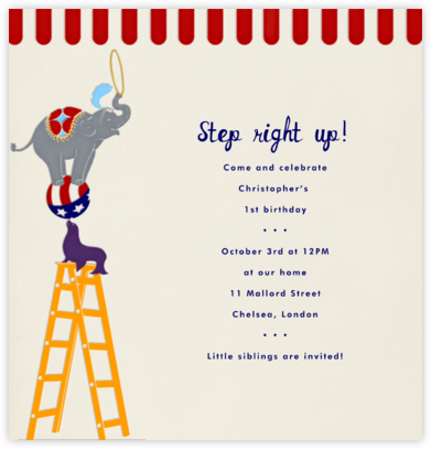 Circus Pyramid - Paperless Post - First Birthday Invitations