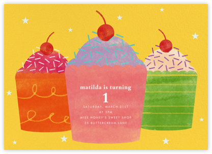 Cupcake Social - Paperless Post - First Birthday Invitations
