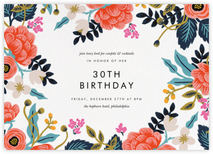 Birch Monarch (Frame) - White - Rifle Paper Co. - Milestone birthday invitations