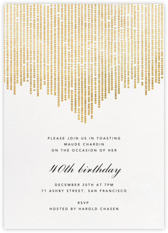 Josephine Baker - White/Gold - Paperless Post - Milestone birthday invitations