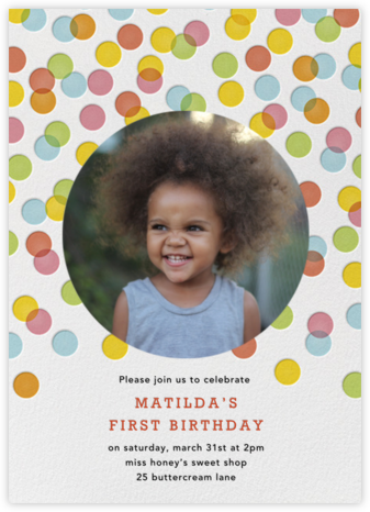 Rainbow Confetti - Petit Collage - First birthday and baby birthday invitations