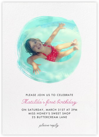 Painted Circle - Paperless Post - First Birthday Invitations