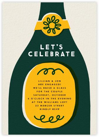 Champ Bottle - Let's Celebrate - The Indigo Bunting - New Year's Eve Invitations
