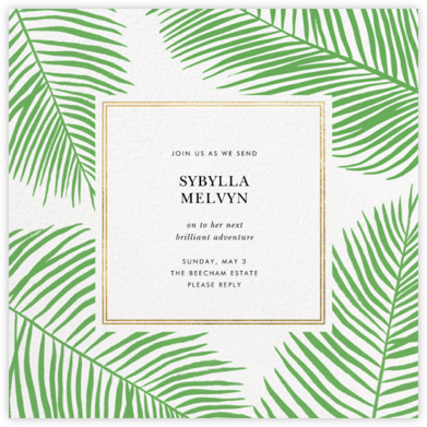 Palmier III (Square) - Green/Gold - Paperless Post - Farewell party invitations