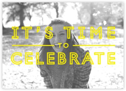 It's Time To Celebrate - Yellow - Paperless Post - Milestone Birthday Invitations